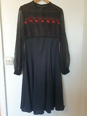 £29.99 • Buy True Vintage Ronald Joyce After Six Mesh Embroidered Lace Flar Dress Size 16