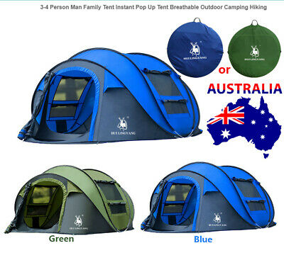 AU128.99 • Buy 3-4 Person Man Family Automatic Pop Up Tent Breathable Outdoor Camping Hiking