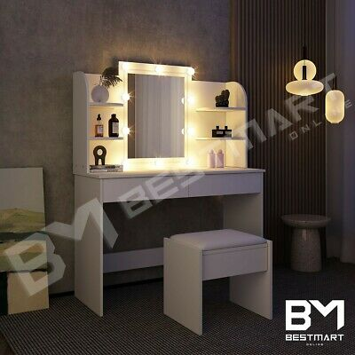 AU229 • Buy Dressing Table Mirror Stool Jewellery Cabinet Makeup Drawer White W/LED Bulbs