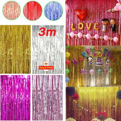 £2.37 • Buy 2M/3M Foil Fringe Tinsel Shimmer Curtain Door Wedding Birthday Party DECORATIONS