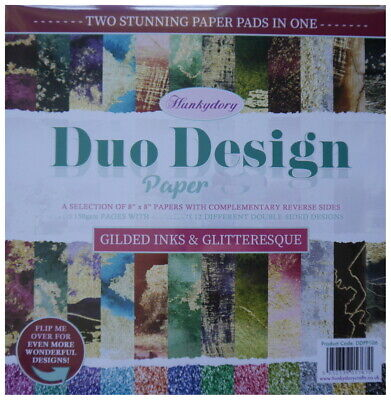 £5.45 • Buy Hunkydory Duo Design 8 X 8  Paper  GILDED INKS & GLITTERESQUE 24 Loose Sheets
