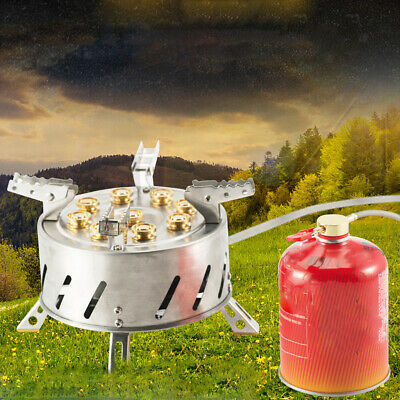 AU142.77 • Buy Campact Portable Camp Stove 9-Head Burner Gas Outdoor BBQ Hiking Cooker