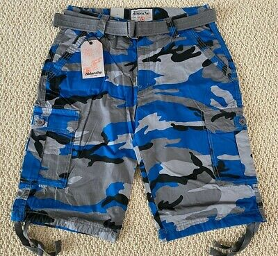 $19.99 • Buy NWT Men's Ablanche Blue Gray Camouflage Camo Belted Cargo Shorts ALL SIZES