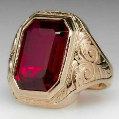 $200 • Buy 5Ct Emerald Estate Ruby Bold Men's Engagement Wedding Ring 14K Yellow Gold Over