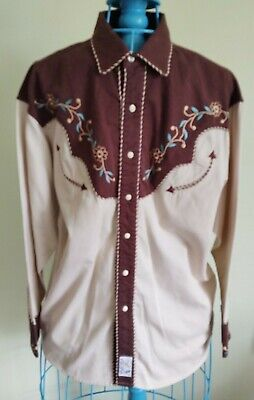$37 • Buy Pandhandle Slim Retro Embroidered Tan Western Shirt With Brown Yokes, Size M