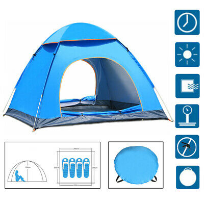 AU46.93 • Buy Pop Up Tent Automatic 3-4 Man Person Family Tent Camping Festival Shelter Beach.