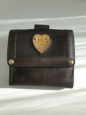 AU115 • Buy GUCCI GG Leather Guccissima Heart Wallet French Flap Brown Gold Authentic