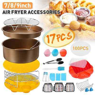 AU89.01 • Buy 17Pcs Air Fryer Accessories 7丨8丨9 Inch Frying Cage Dish Baking Pizza Pan Trays
