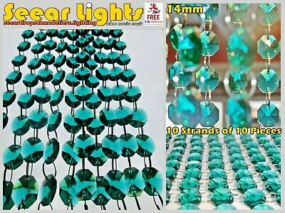 £23.99 • Buy 100 CHANDELIER PEACOCK GREEN GLASS 14mm CRYSTALS GARLAND WEDDING DROPLETS BEADS