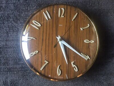 £50 • Buy Vintage Metamec Wood Effect And Brass Wall Clock. New Movement.