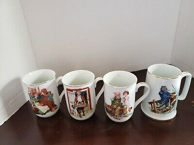 $ CDN35 • Buy Vintage 1982 Norman Rockwell Museum Collection Set Of 4 Coffee Cups Mugs