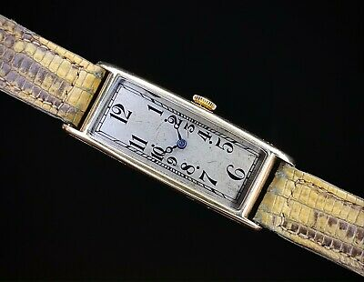 £1500 • Buy 1920s Art Deco 18ct Gold Rectangular Banana Watch With Movado Movement Serviced
