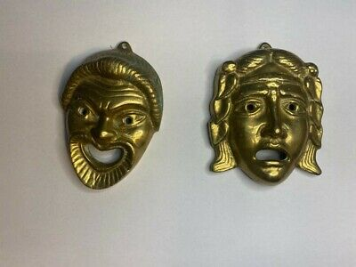 £29.75 • Buy Vintage Brass Drama Masks - Comedy And Tragedy Greek Mask Wall Hangings