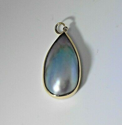 $275 • Buy Custom Vintage 14k Yellow Gold Large 27 X 13mm Mabe Blister Pearl Pendant 3.7gr
