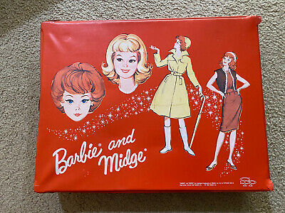 $ CDN30.23 • Buy 1964 Barbie And Midge Vintage Red Vinyl Doll Case