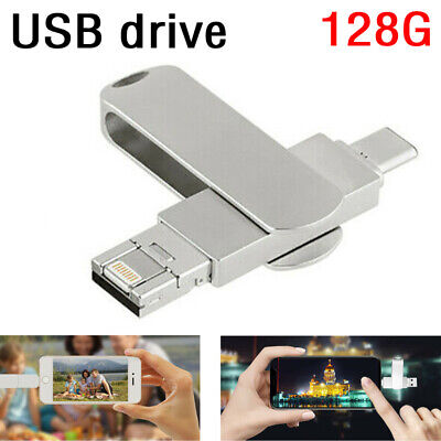 £7.99 • Buy 3 In1 LIGHTING/Type-C/USB Flash Drive Memory Stick For IPhone Android IPad 128GB