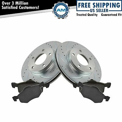 $94.61 • Buy Brake Rotor Drilled Slotted Zinc Coated Ceramic Pad Front Set For Ford