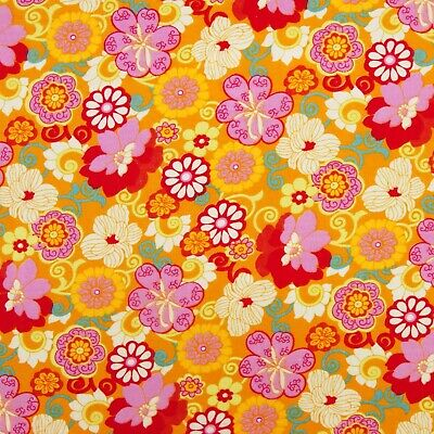 £1.65 • Buy YELLOW RETRO FLOWERS 50cms X 138cms  POLY COTTON FABRIC REMNANT CRAFT PATCHWORK