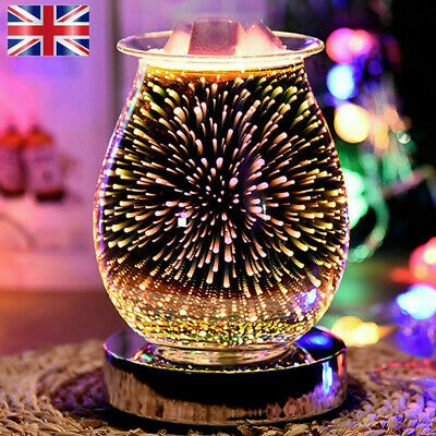 £12.88 • Buy 3D Glass Electric Firework Oil Wax Melt Burner Fragrance Aroma Touch Night Lamp