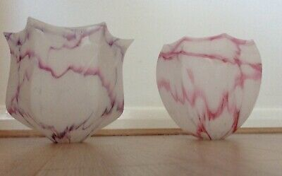 £30 • Buy TWO Vintage Glass Lightshades For Ceiling /curved Lamp - Frosted. Pink & Mauve.