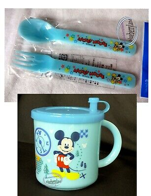 Disney MICKEY MOUSE Cup With Lid + Fork & Spoon Cutlery Set Child Kids Meal Feed • 9.89£