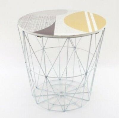 AU33.88 • Buy White Abstract Design Wire Storage Basket Round End Side Table Home Furniture