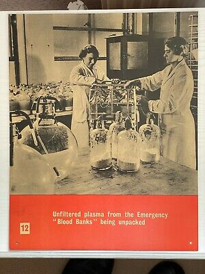 £10 • Buy WW2 Ministry Of Information Blood Transfusion Cardboard Poster Blood Banks