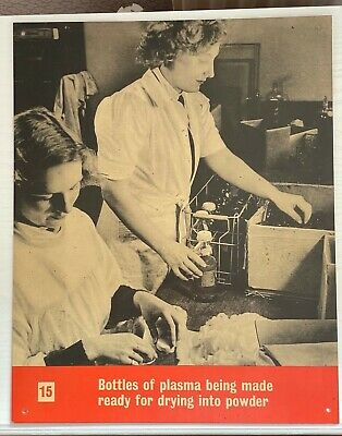 £10 • Buy WW2 Ministry Of Information Blood Transfusion Cardboard Poster Plasma Drying