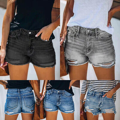 £12.69 • Buy UK Womens Denim Shorts Summer Distressed Ripped Jeans Hot Pants Size 10 12 14 16