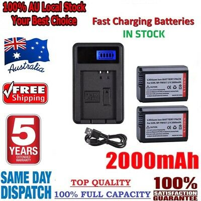 AU29.80 • Buy 2Pcs NP-FW50 Battery + Charger USB For SONY Alpha A7 A7R A7S A5000 A6000 NEX-3