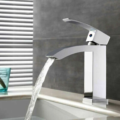 £21.99 • Buy Waterfall Counter Top Bathroom Taps Basin Mixer Tap Sink Tall Chrome Mono Faucet