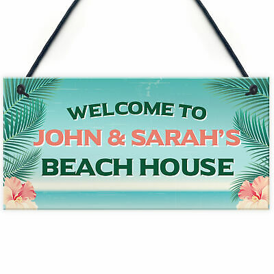 £5.99 • Buy Personalised Beach House Hut Shed Sign Seaside Home Decor Gifts Beach Hut Sign