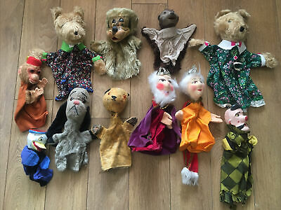 £18 • Buy 11x Assorted Vintage Antique Hand Puppets Sooty, Sweep, King , Queen, Bears Duck