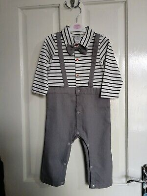 £12.99 • Buy Baby Boy Striped Bow Tie Button Through Jumpsuit