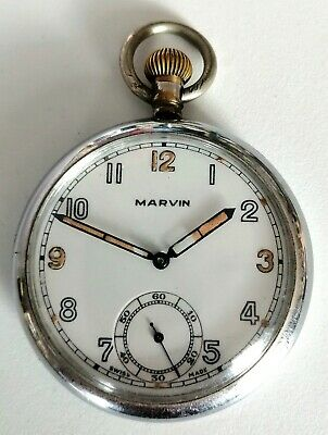 Gents Chorme  Pocket Watch Marvin Army WW2 Pocket Watch G. S. T. P Working Order • 25£