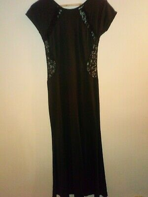 £9.99 • Buy Black Floor Length Dress With Lace Panels