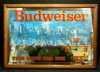 $ CDN138.46 • Buy Vintage Budweiser Clydesdale  This Bud's For You  Mirror Clock 19  X 13  V. Good