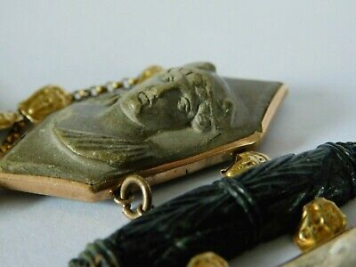 ANTIQUE 9ct GOLD BRACELET With CARVED LAVA CAMEOS & 9ct GOLD HEADS  • 70£