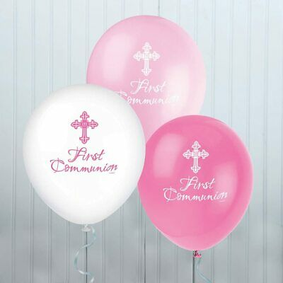 8 X First Holy Communion Latex Balloons Pink Girl's Religious Party Decoration  • 3.29£