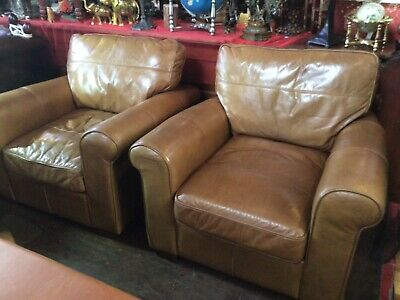 £970 • Buy Halo Armchair Sofa Genuine Real Leather Vintage Suite Distressed Aniline X 2