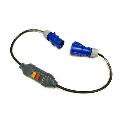 16Amp Plug To Inline RCD Safety Trip To 16Amp Socket IP44 Adaptor Converter Lead • 33.49£
