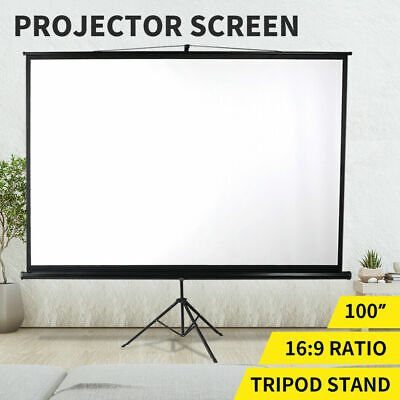 AU130.79 • Buy 100 Inch Projector Screen Tripod Stand Home Pull Down Outdoor Screens Cinema 3D
