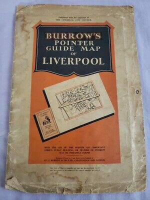 £10 • Buy Vintage 1950's Burrow's Pointer Guide Map Of Liverpool