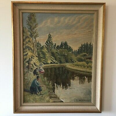£35 • Buy British Canal Boat Woman Fishing Mid Century Impressionist Oil Painting On Board