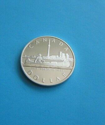1984 $1 CANADA INDIAN CANOE 150th Anniversary TORONTO SILVER DOLLAR • 19£
