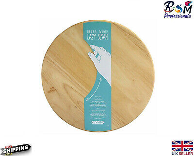 £13.95 • Buy Cutting Board Lazy Susan Wooden Swivel Rotating Tray Serving Plate 35cm