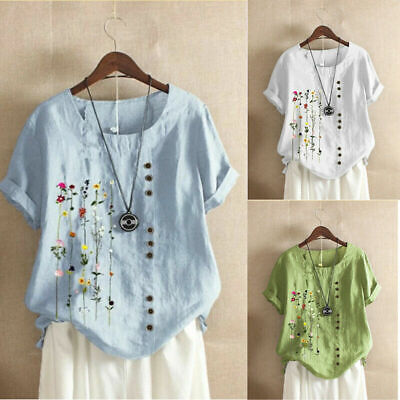 £8.59 • Buy Women Summer Floral Cotton Linen Tops Blouse Ladies Loose T Shirt Tunic Pullover