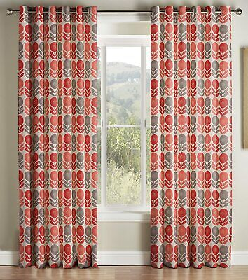 £29.98 • Buy Montgomery Lined Rme Eyelet Curtains, Coral Floral 167cm W X 182cm D