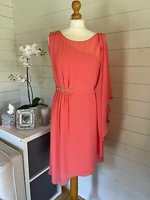 £33 • Buy Ladies Monsoon Coral Toga Style Dress Size 12