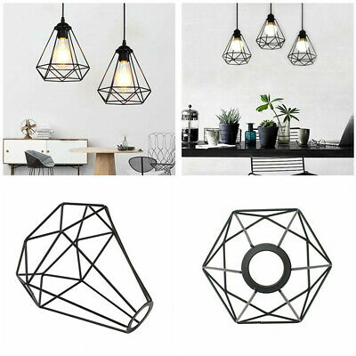 £5.99 • Buy Pendant Metal Light Shade Ceiling Industrial Geometric Wire Cage Lampshade Lamp